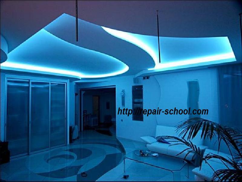 нионовый свет потолка