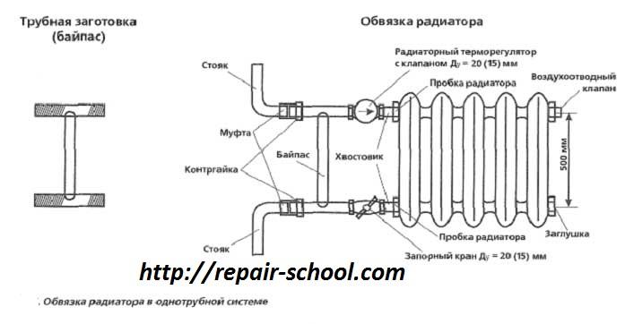 схема подключение-радиаторов-отопления