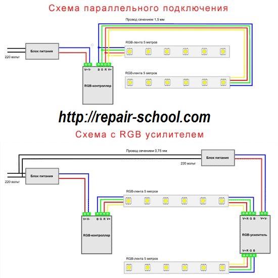 схема подключения светодиодной многоцветной ленты