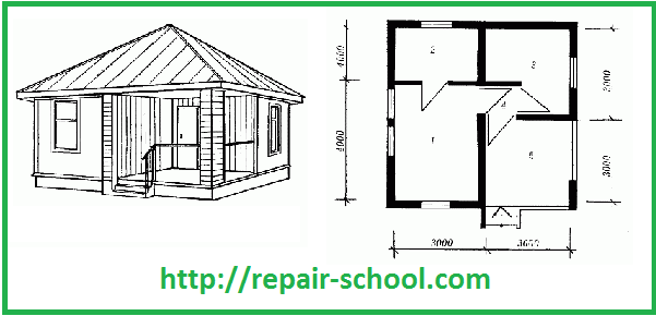 План двухкомнатного домика с небольшой террасой