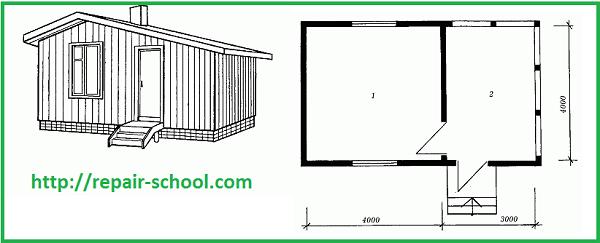План однокомнатного деревянного домика с верандой