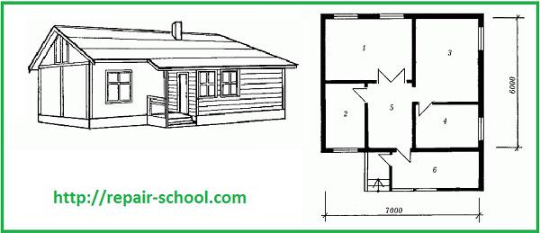 План трехкомнатного домика с верандой