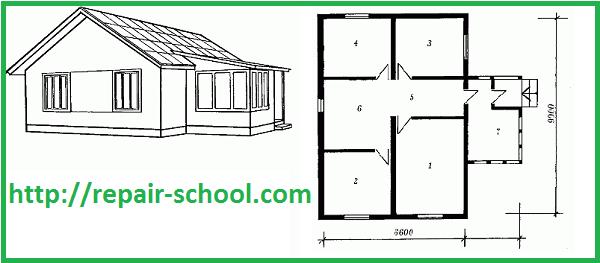 План четырехкомнатного домика с верандой