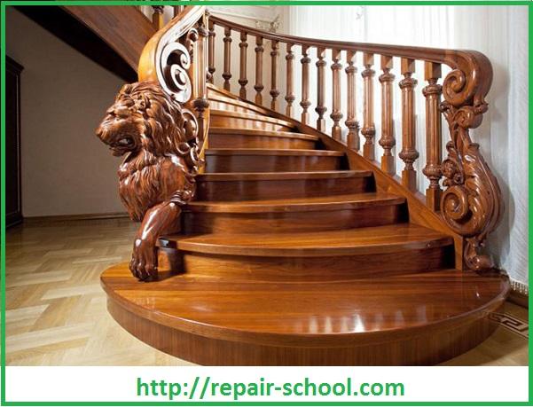 Шикарная деревяная лестница на второй этаж