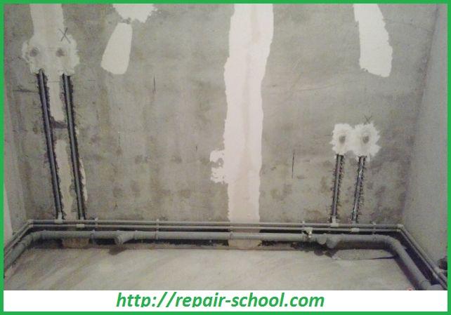 Монтаж трубопровода в бетонной стене