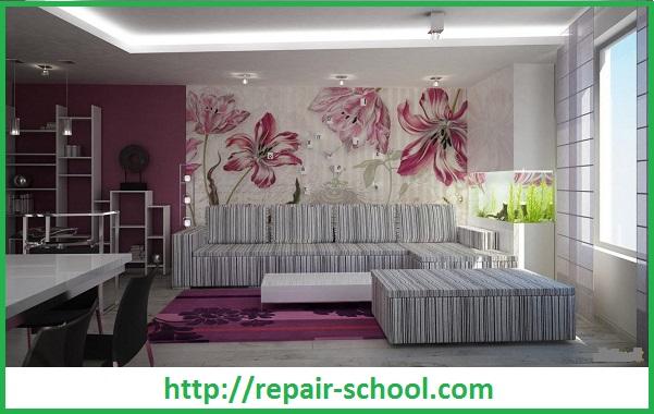 Дизайн гипсокартонных стен в гостиной с применением обоев