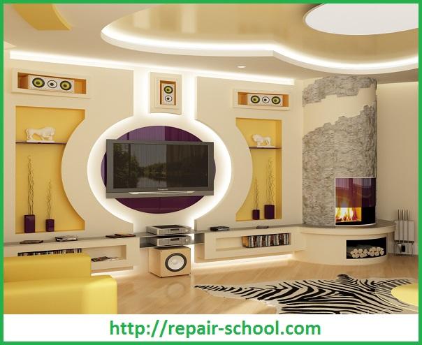 Дизайн гипсокартонных стен в гостиной