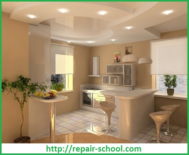 Дизайн потолка в кухне