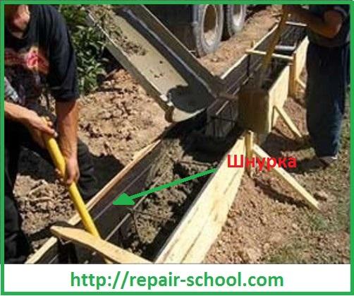 Заливка бетона до отметки