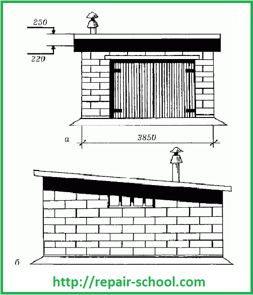План кирпичного гаража