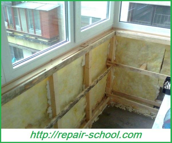 Утепление стен балкона лоджии