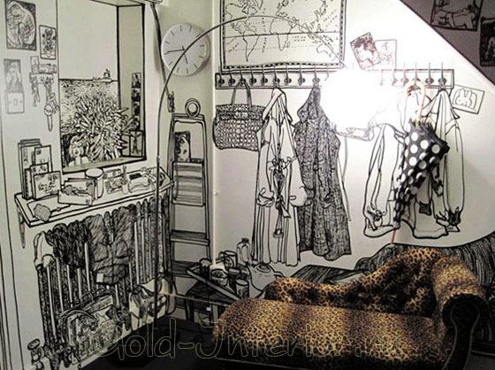Фреска в интерьере спальни