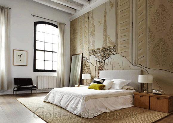 Фреска в современной спальне