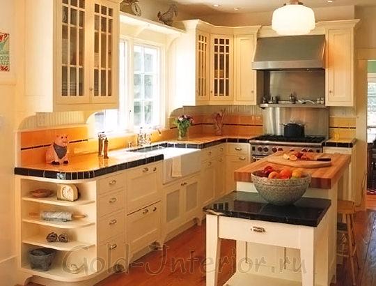 Рыжий + медный + сливочный оттенки в дизайне кухни стиля кантри