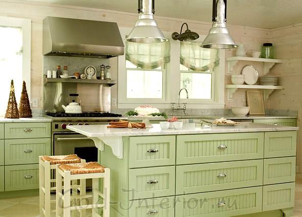 Палитра для интерьера кухни: фисташковый + бежевый