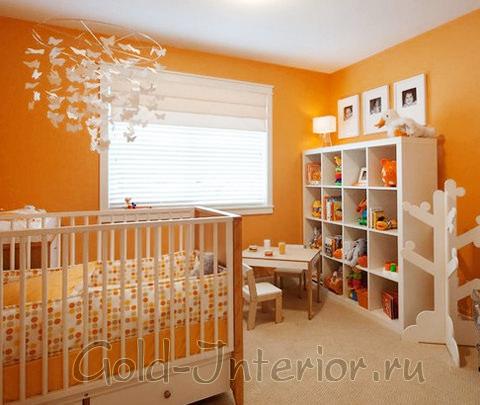 Оранжевый в интерьере детской