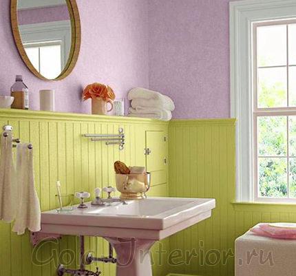 Цвет фисташки и лаванды в интерьере ванной