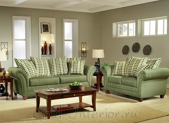 В оформлении гостиной учавствуют серый и фисташковый цвета