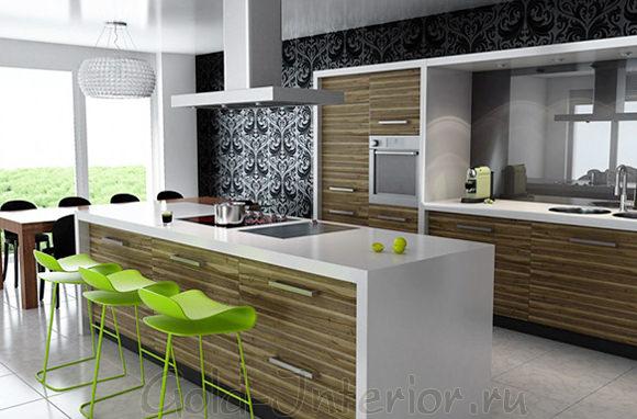 Современная барная стойка в интерьере кухни-студии