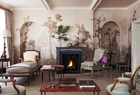 Фреска в пастельной цветовой гамме во всю стену в классической гостиной