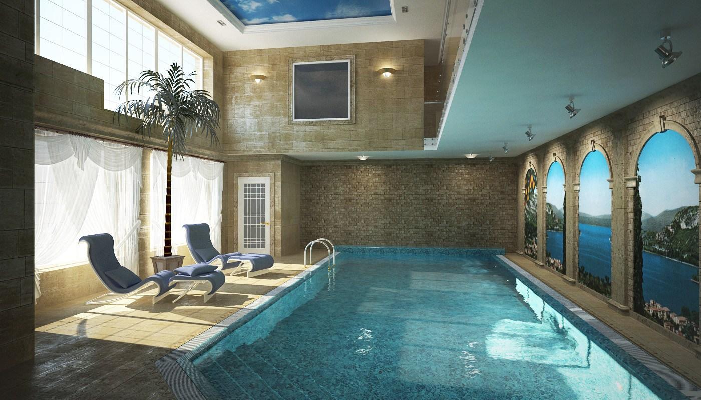 Небольшой бассейн в загородном доме