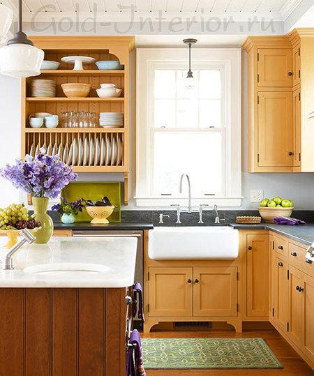 Кухонный гарнитур в интерьере кухни размером 10 кв м