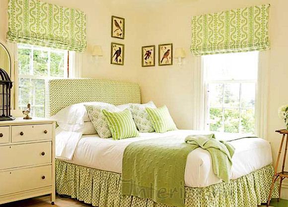 Фисташковый, белый, бежевый цвет в интерьере спальни