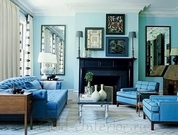 Слияние синего и голубого цвета в дизайне гостиной