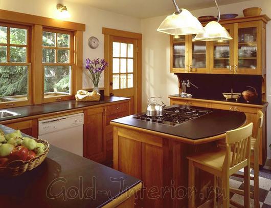 Барная стойка-остров: плита и стол