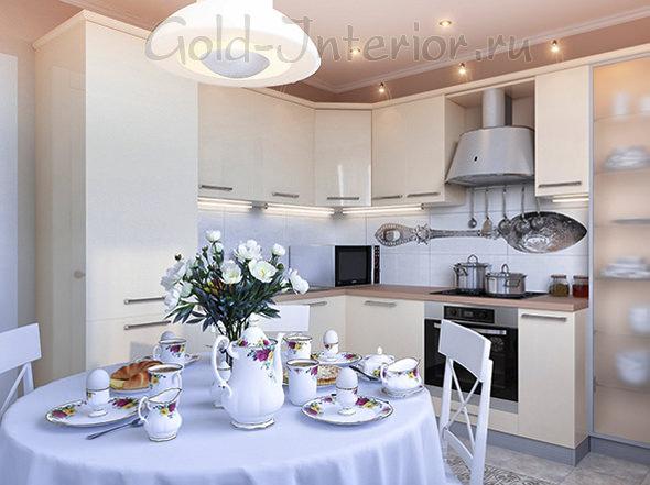 Круглый стол в обустройстве кухни площадью 10 кв м